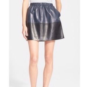 New! Vince Blue & Black Color block Leather Skirt